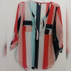 PLUS size Colorful chiffon Striped Blouse